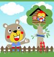 cute animals in home yard cartoon vector image