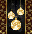 cute christmas card with gold balls vector image vector image