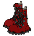 dark red leather high lacing shoes vector image vector image