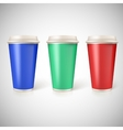 Disposable cups for coffee closeup with vector image