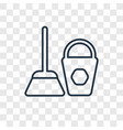 dustpan cleanin concept linear icon isolated on vector image