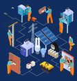electrical service isometric concept with vector image vector image
