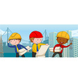 Engineers with paper and tools vector image vector image