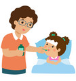 father giving daughter medicine vector image vector image