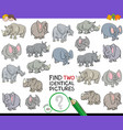 find two identical animal pictures game vector image vector image
