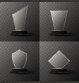 glass trophy award set collection vector image vector image