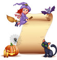 halloween sign with little witch bat spider web vector image vector image
