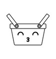 kawaii picnic basket vector image