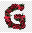 Letter G made from red berries sketch for your vector image vector image