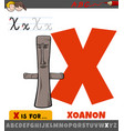 letter x from alphabet with cartoon xoanon object