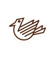 line art bird logo vector image vector image
