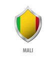 mali flag on metal shiny shield vector image