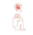 mental disoder woman sitting on floor vector image vector image