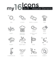 modern thin line icons set weather elements vector image