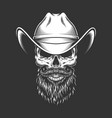 monochrome skull in cowboy hat vector image