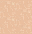 one line drawing women faces seamless pattern vector image vector image