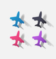 paper clipped sticker aircraft airliner vector image vector image