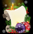 paper scroll with candles and christmas baubles vector image