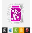 pickled vegetables paper sticker with hand drawn vector image vector image