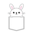 rabbit baby face head icon sitting in the pocket vector image vector image