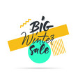 sale tag big winter sale black and yellow vector image