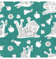 seamless pattern with merry snails sketch vector image vector image