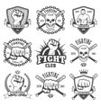 set cool fighting club emblems vector image vector image