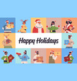set mix race people celebrating happy new year vector image vector image
