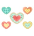 set of patchwork hearts vector image vector image