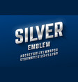 silver emblem style font metallic alphabet vector image vector image