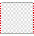 square candy cane frame with red and white vector image