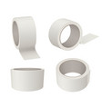 sticky tape realistic white tape roll 3d view vector image vector image