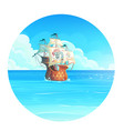 the cartoon background pirate vector image