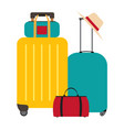 travel bags suitcases icon isolated on white vector image