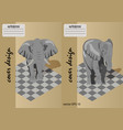 two covers for notebooks with an elephant on a on vector image vector image