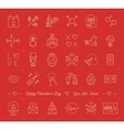 Valentine icon set love symbols flat design line vector image