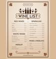 wine menu design template restaurant or bar vector image