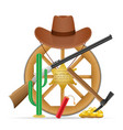 wooden cartwheel with wild west cowboy items vector image vector image