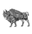 Zentangle stylized Black Bison vector image