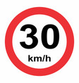 30 kmh speed limit vector image vector image