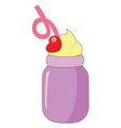 a dessert in purple jar with a pink straw and red vector image