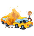 accident scene with car on fire vector image vector image