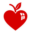 apple heart icon simple style vector image vector image