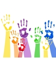 background with multicolored paint hands vector image
