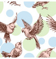 birds seamless pattern over pastel dots background vector image