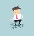 businessman standing on cracking floor vector image