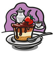 chocolate cake with strawberry vector image vector image