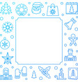 christmas line blue frame new year vector image
