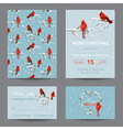 Christmas Winter Birds Greeting Card Set vector image vector image