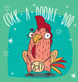cock or rooster with logo 2017 smiles vector image vector image